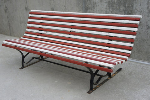 Red and White Garden Bench