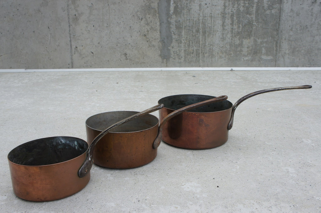 Set of Three Copper Pans