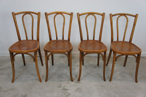 Set of 4 Bentwood French Bistro Chairs (lighter wood)