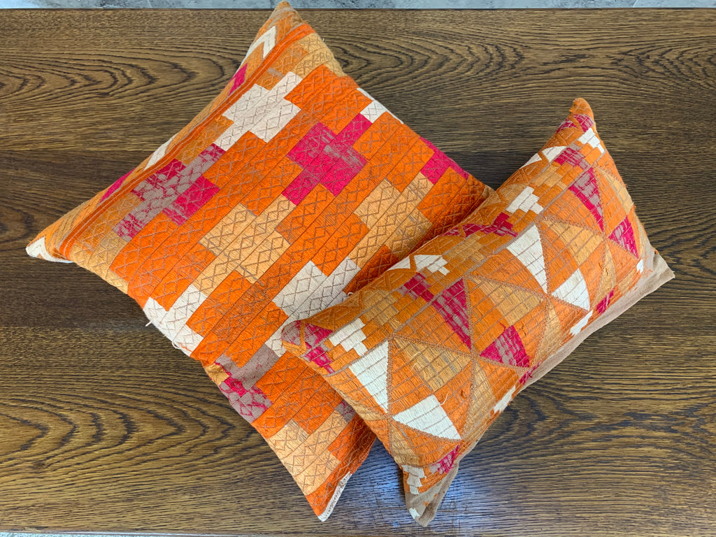 EXCLUSIVE UNIQUE Pair of Vintage Hand Embroidered Silk Sunset Scatter Cushions