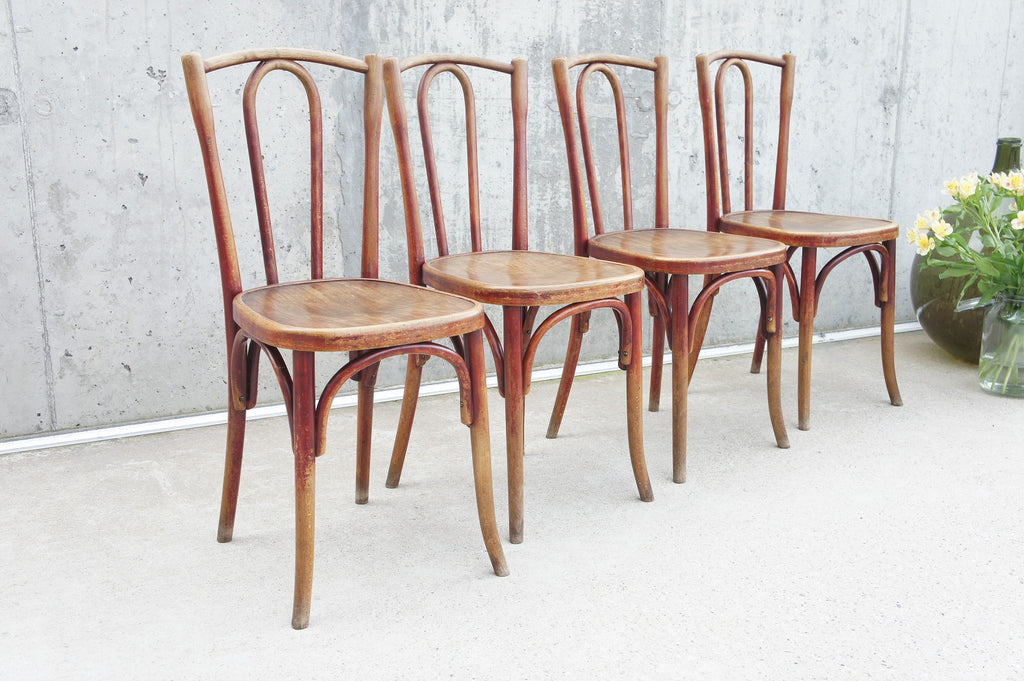 Set of Four Fischel French Bentwood Bistro Chairs (Marked)