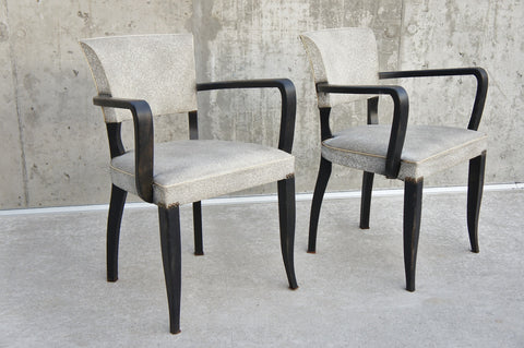 Mid Century Bridge Chairs with Black Arms Ready to Reupholster
