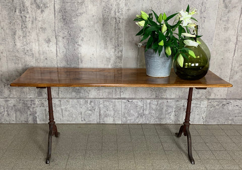 180.5cm Walnut Wood and Cast Iron French Bistro Cafe Table Desk