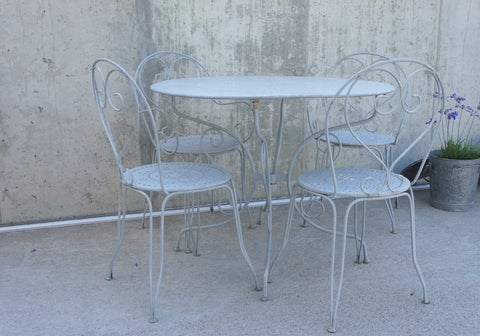 Set of Grey Garden Circular Table, Two Carvers and Two Chairs