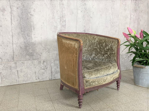 1930's Art Deco Carved Tub Armchair with Original Velvet
