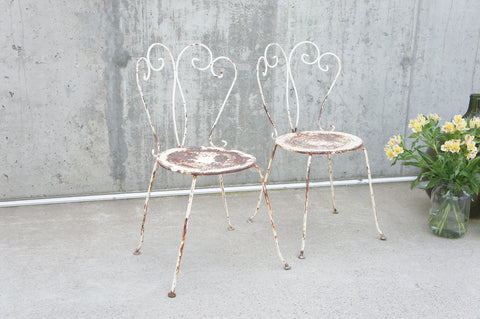Pair of Traditional French Decorative Metal Garden Chairs