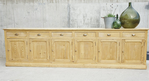 1920's 356.5cm 6 Door 6 Drawers Restaurant Counter Sideboard Cupboard