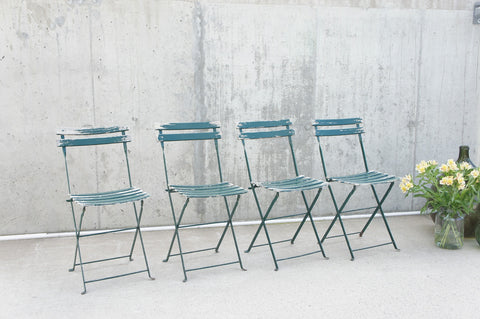 Set of 4 Green Folding Bistro Garden Chairs