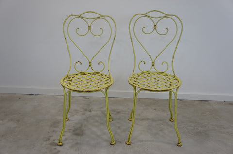 Pair 1870's Wrought Iron Garden Chairs