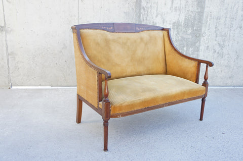 1930's Upholstered Gold Velvet Inlaid French Bench Sofa