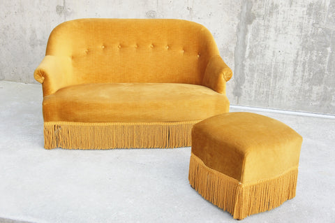 Gold Velvet Tub Style Sofa and Footstool