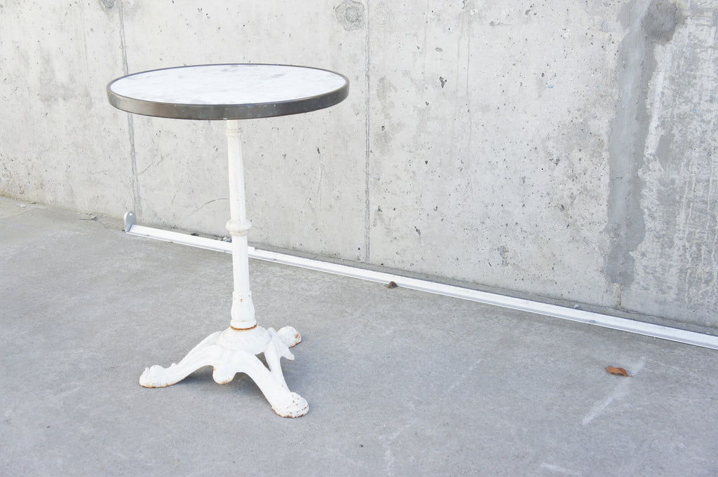 Marble, Cast Iron and Brass Bistro Table