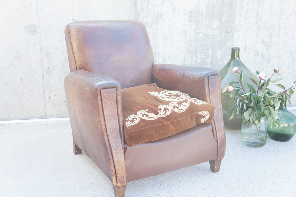 Leather Club Chair with Embroidered Velvet Cushion