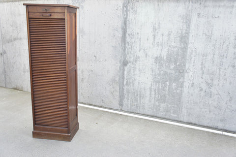 1930's Solid Wood Single Tambour Filing Cabinet