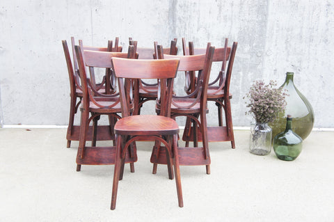 Set of 11 Luterma Wooden Oxblood Bistro Chairs