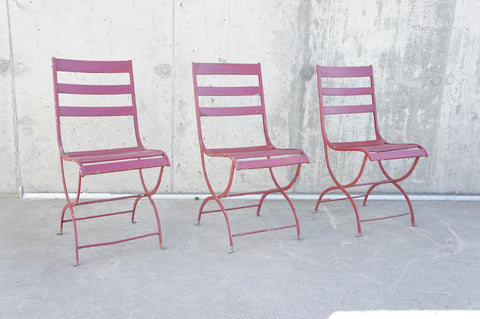 Set of 3 Metal and Wood Bistro Chairs