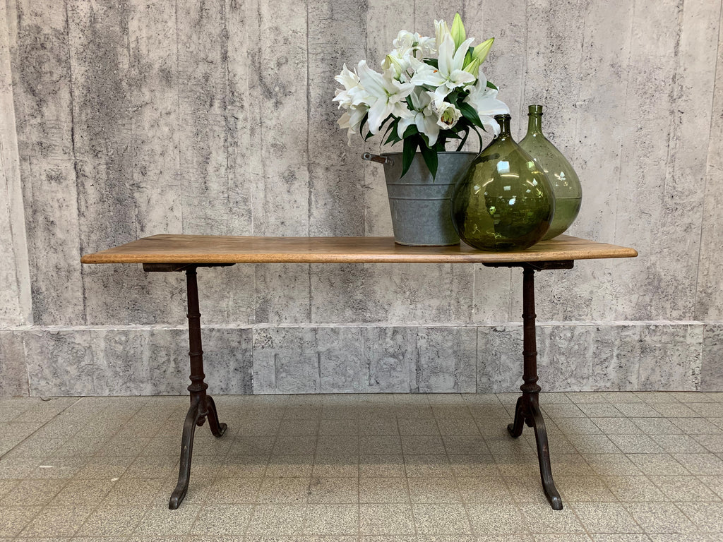 151cm Walnut Wood and Cast Iron French Bistro Cafe Table Desk