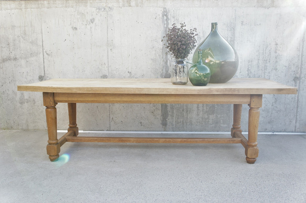 259.5cm Vintage French Oak Refectory Farmhouse Dining Table (with removable tabletop)