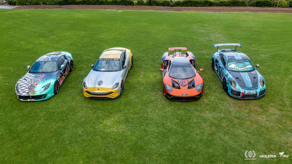 Aerial view of four goldRush Rally cars parked on grass