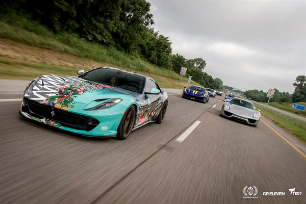 goldRush Rally cars on a highway