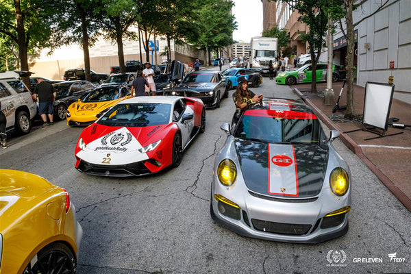 goldRush Rally cars queued up on a city street