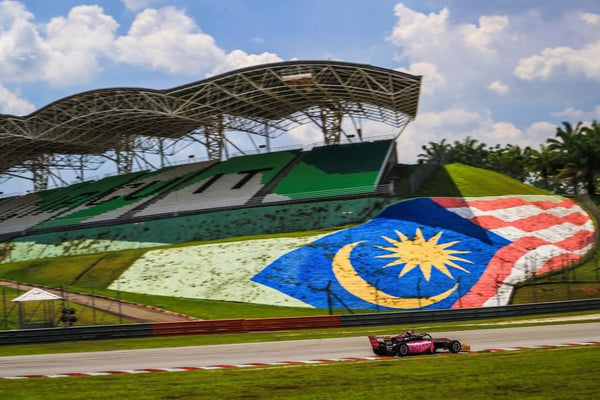 The pink Oloi F3 car races past a Malaysian flag painted in the grass bordering Sepang Circuit