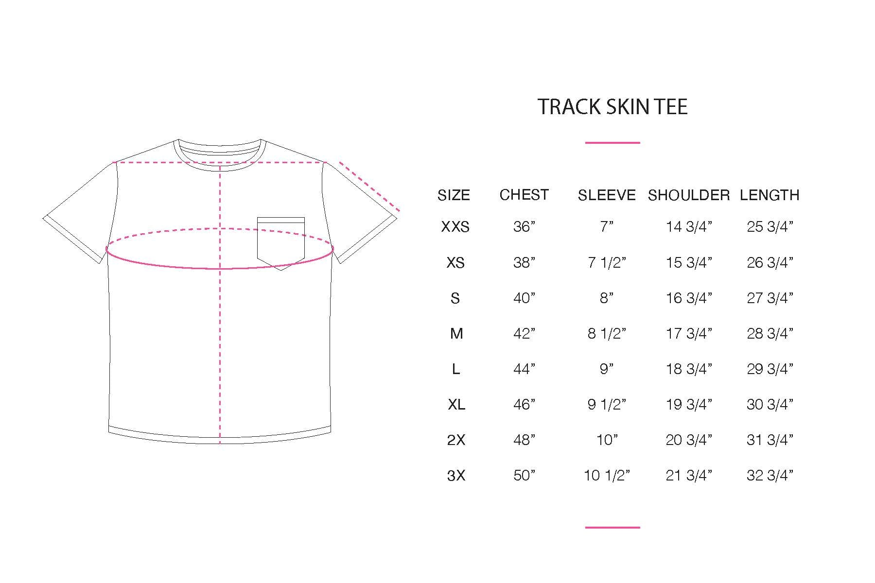 Track Tee size chart
