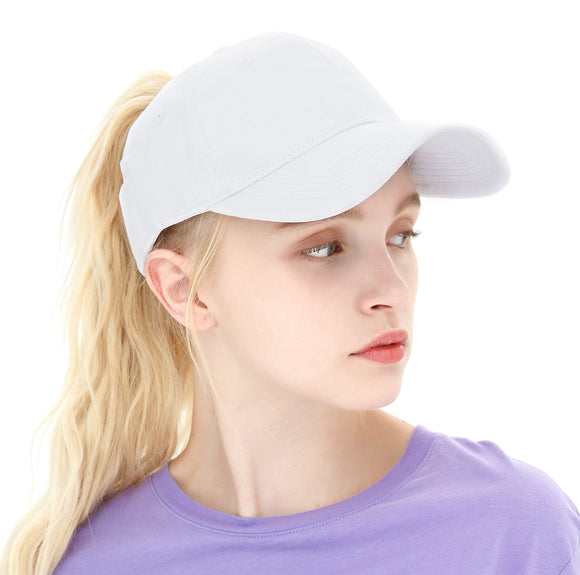 ELLEWIN Ponytail Baseball Cap Plain Cotton Messy High Bun Hat for Women