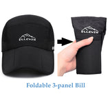 ELLEWIN Foldable 3-Panel Long Bill Baseball Cap UPF 50 + Unstructured Hat