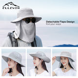 Wide Brim Fishing Hat with Face and Neck Face Flap for Sun Protection