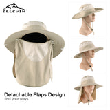 Sun Hat Wide Brim Fishing Hat with Face and Neck Face Flap for Sun Protection