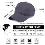 ELLEWIN Unisex Classic Plain Cotton Baseball Cap Adjustable Unstructured 6 Panel Dad Hats