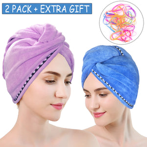 Microfiber Hair Towel Wrap 2 Pack,Drying Bath Shower Head Turban with Buttons
