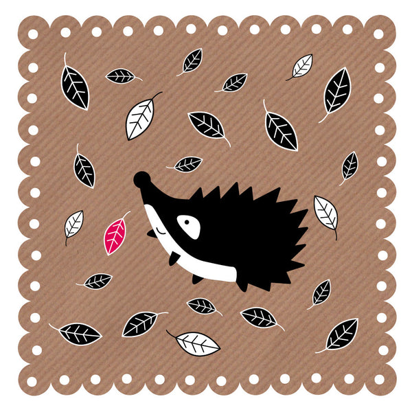 Hedgehog In Leaves Art Card