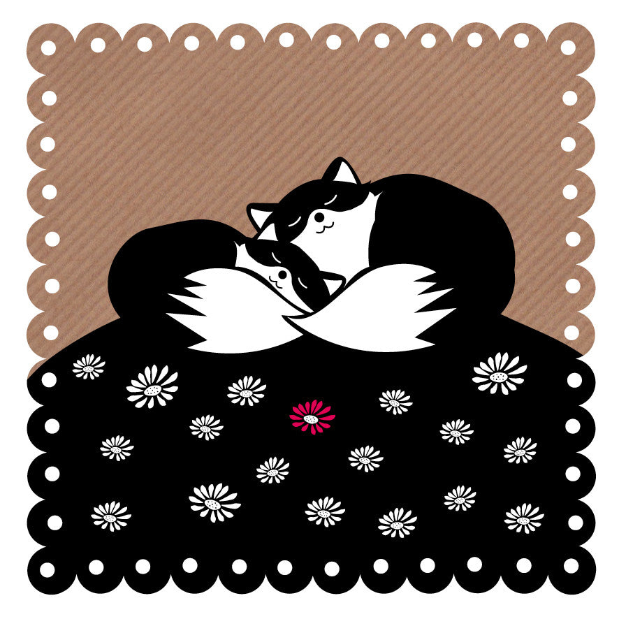 Fox Snuggle Art Card