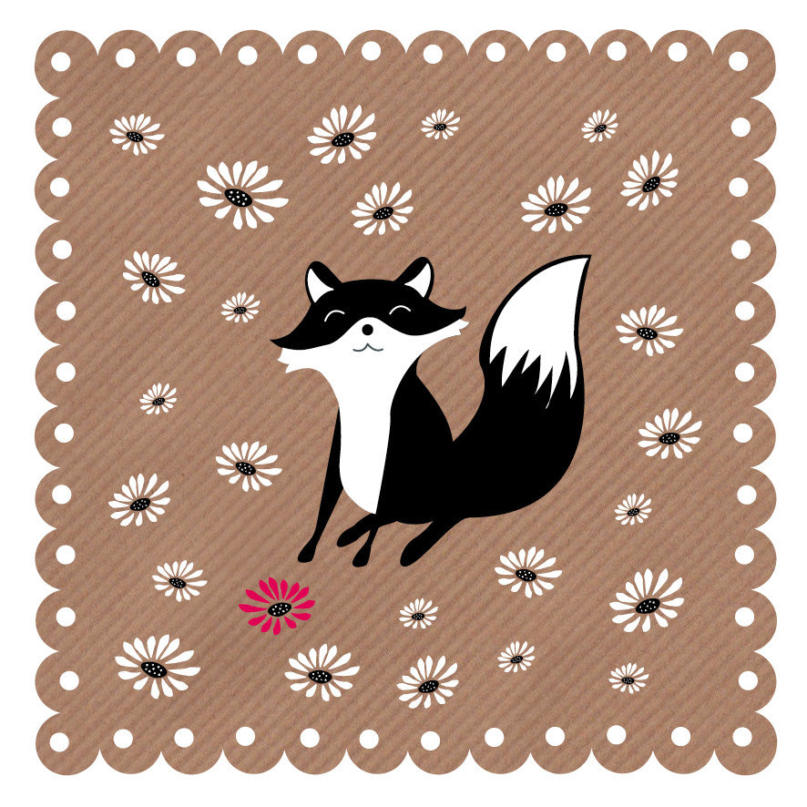Fox & Flowers Art Card