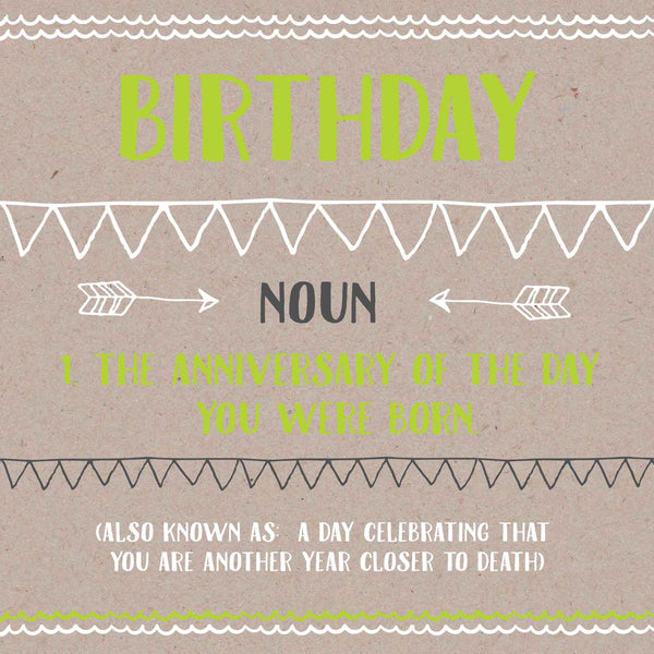 Birthday Death Definition Card