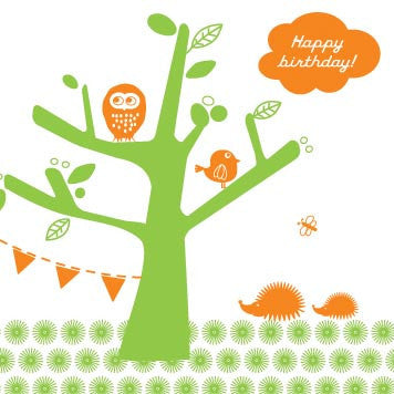 Tree Party Birthday Card