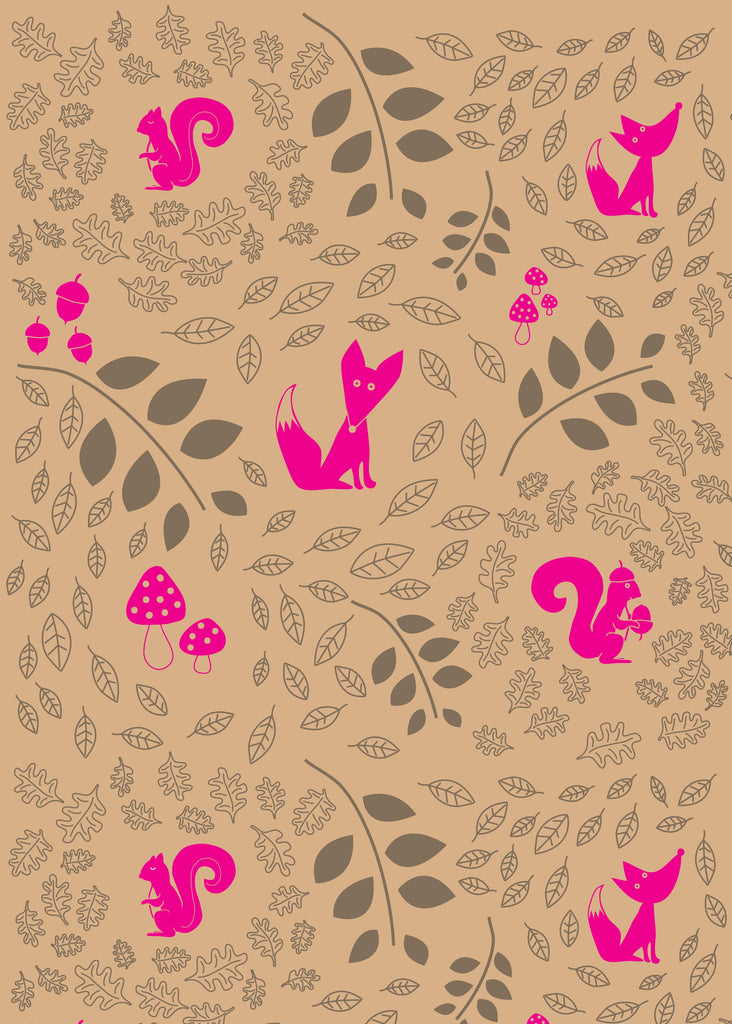 Moonwoods Flowers Giftwrap Woodlands Kraft