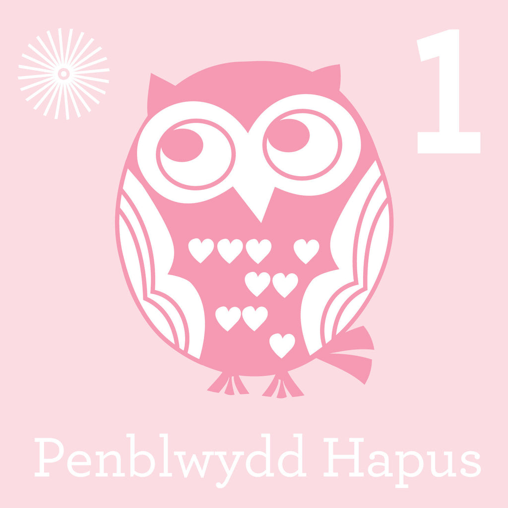 Girls First Birthday Welsh Language Card