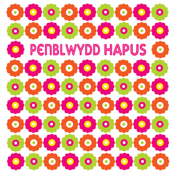 Welsh Language Happy Birthday Flowers Card