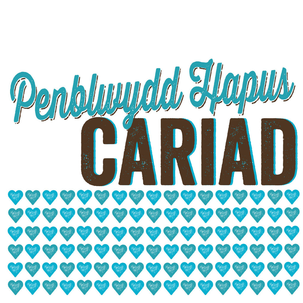 Welsh Pressed Blue Happy Birthday Love Card/ Penblwydd Hapus Cariad