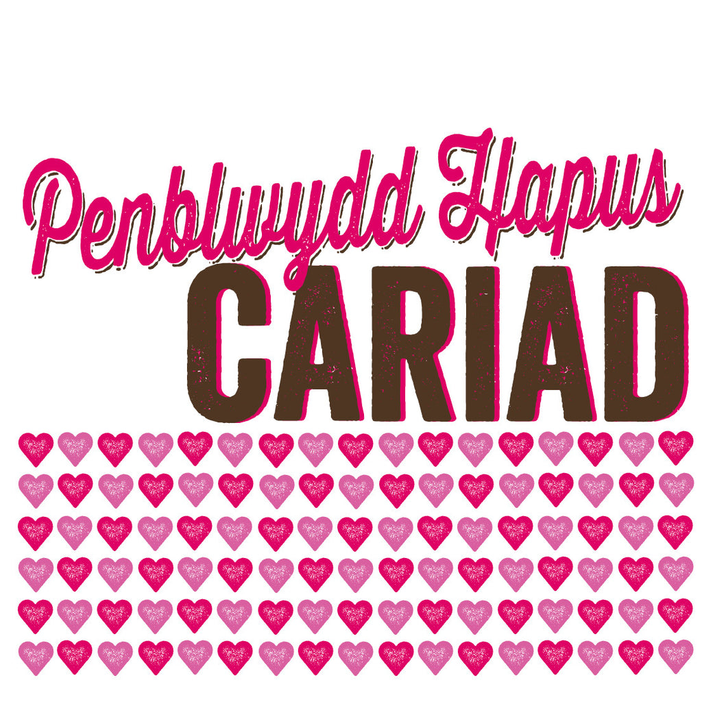 Welsh Pressed Pink Happy Birthday Love Card/ Penblwydd Hapus Cariad