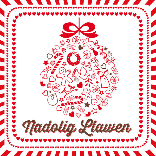 Welsh Bauble Merry Christmas Card/ Nadolig Llawen