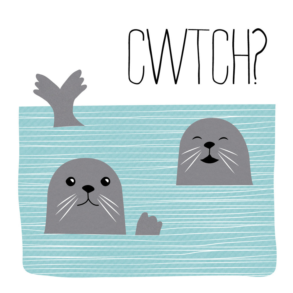 Welsh Seal Hug Card/ Cwtch