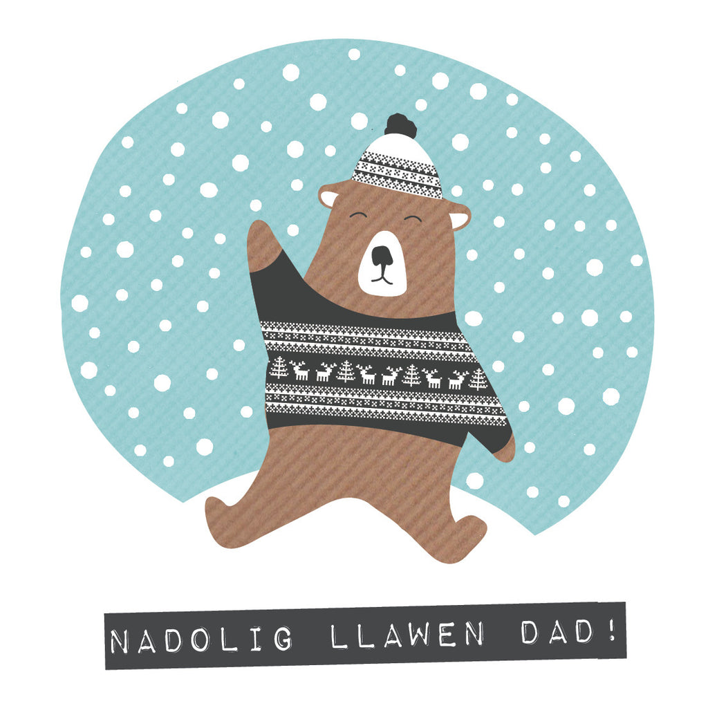 Welsh Bear Merry Christmas Dad Card / Nadolig Llawen Dad!