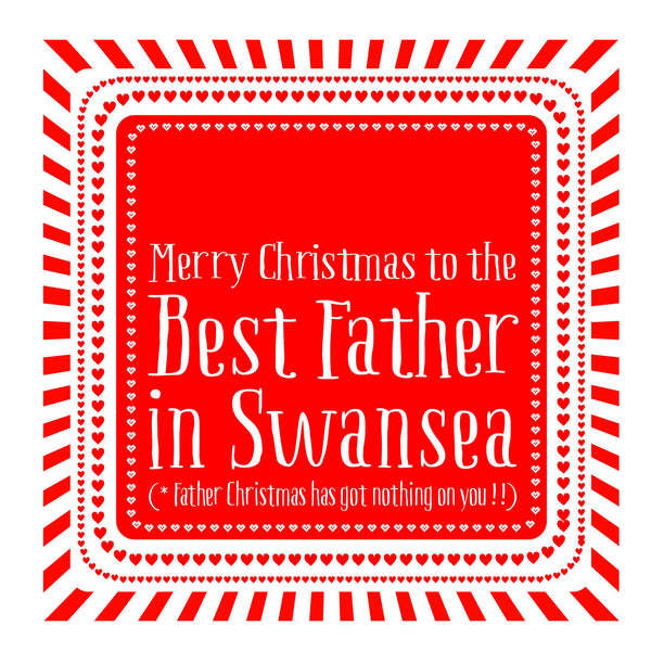 Best Father Heart Christmas Location Card