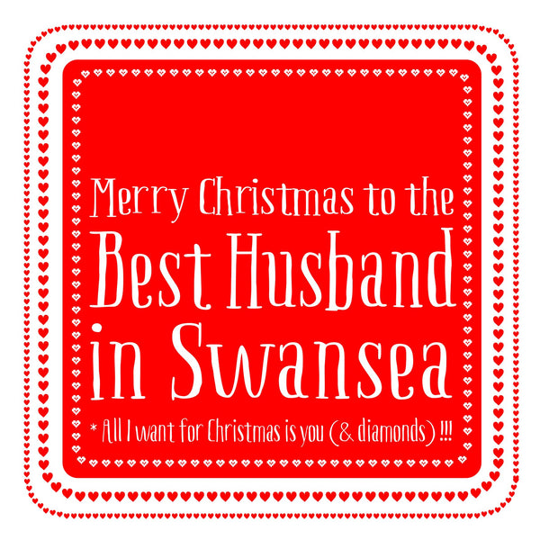 Best Husband Heart Christmas Location Card