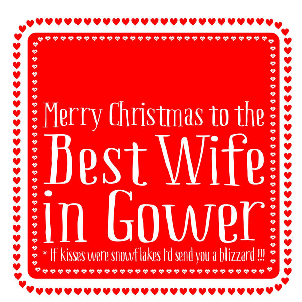 Best Wife Heart Christmas Location Card