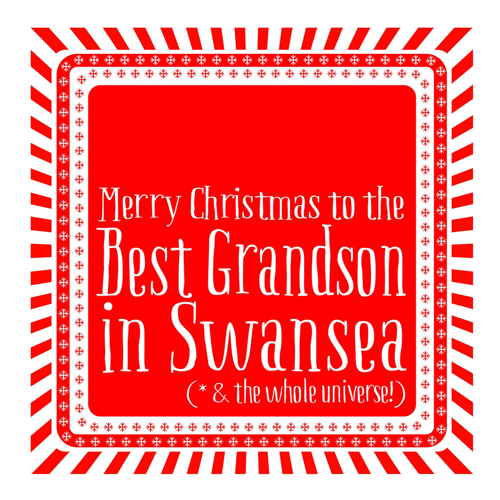 Best Grandson Snowflake Christmas Location Card